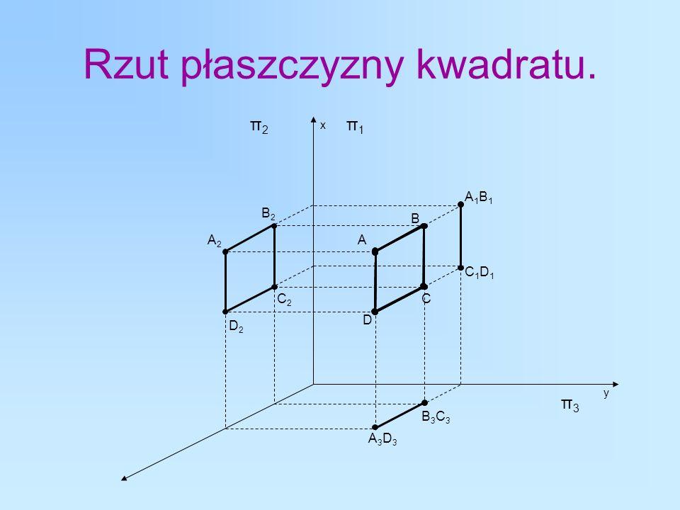 Rzut płaszczyzny kwadratu. A A1B1A1B1 A2A2 A3D3A3D3 π1π1 π2π2 π3π3 B D C C1D1C1D1 B3C3B3C3 B2B2 D2D2 C2C2 y x
