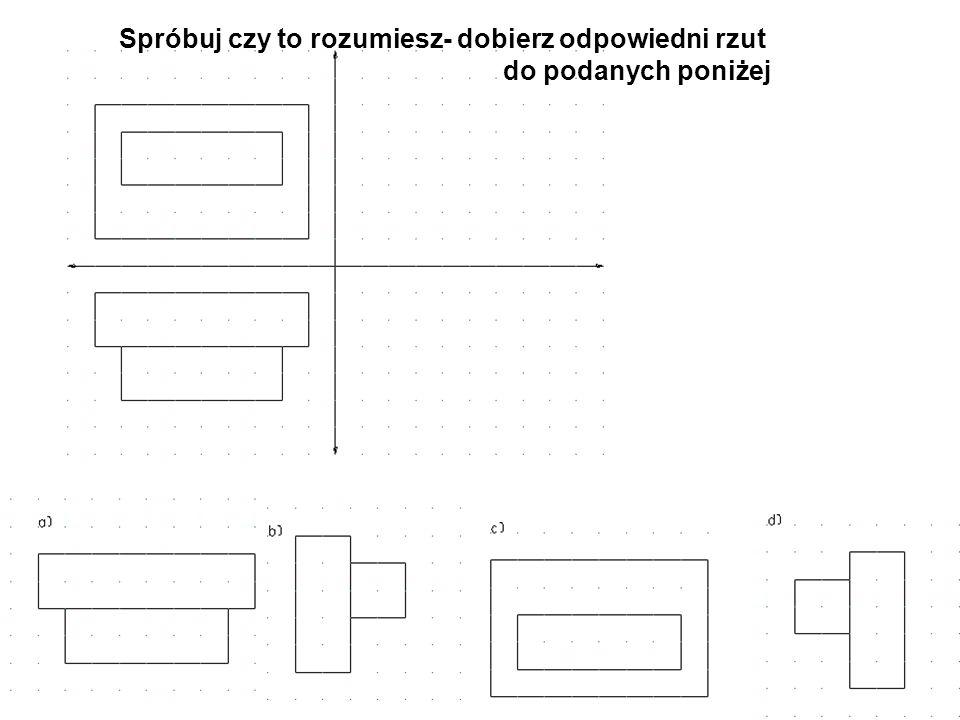 RODZAJE LINII STOSOWANYCH W RZUTOWANIU PROSTOKĄTNYM Ciągła średnia,gruba - do zaznaczania krawędzi obrysu przedmiotu cienka - do kreślenia linii pomocniczych średnia,gruba cienka Przerywana średnia - do zaznaczania krawędzi niewidocznych w danym rzucie (widoku) Przerywana Punktowa cienka - do zaznaczania osi symetrii przedmiotu Punktowa