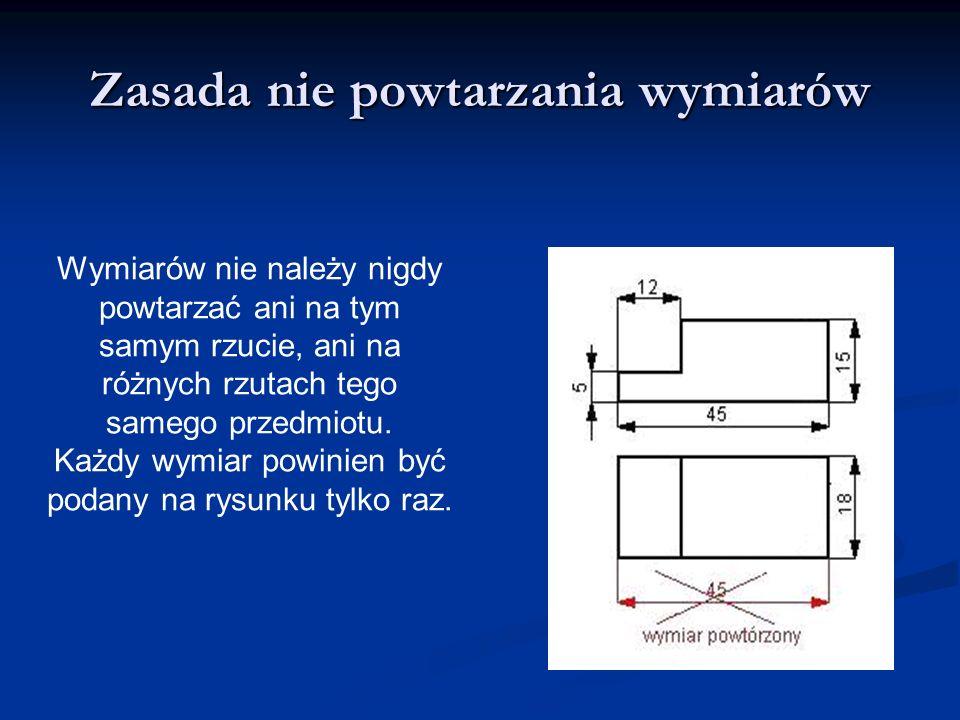 Zasada niezamykania łańcuchów wymiarowych W obu rodzajach łańcuchów nie należy wpisywać wszystkich wymiarów, gdyż łańcuch zamknięty zawiera wymiary zbędne wynikające z innych wymiarów.