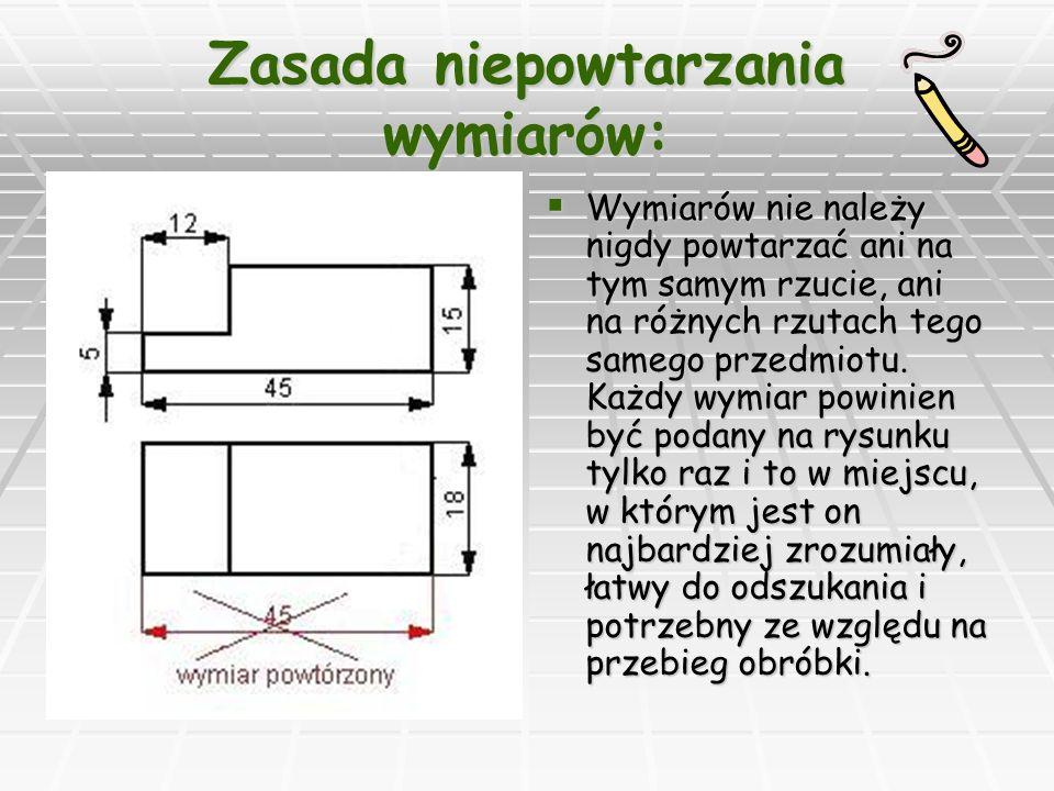 Zasada niepowtarzania wymiarów: Wymiarów nie należy nigdy powtarzać ani na tym samym rzucie, ani na różnych rzutach tego samego przedmiotu.