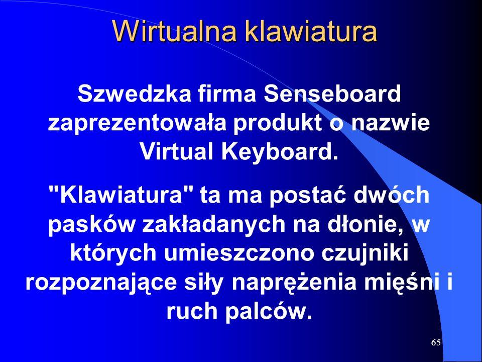 65 Wirtualna klawiatura Szwedzka firma Senseboard zaprezentowała produkt o nazwie Virtual Keyboard.