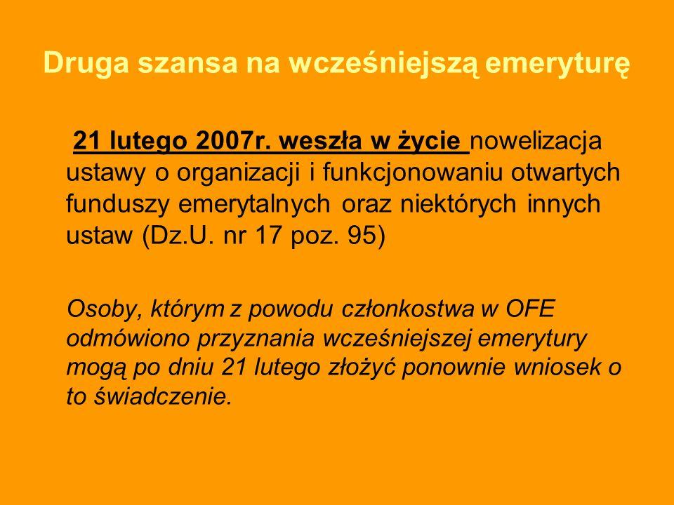 Druga szansa na wcześniejszą emeryturę 21 lutego 2007r. weszła w życie nowelizacja ustawy o organizacji i funkcjonowaniu otwartych funduszy emerytalny