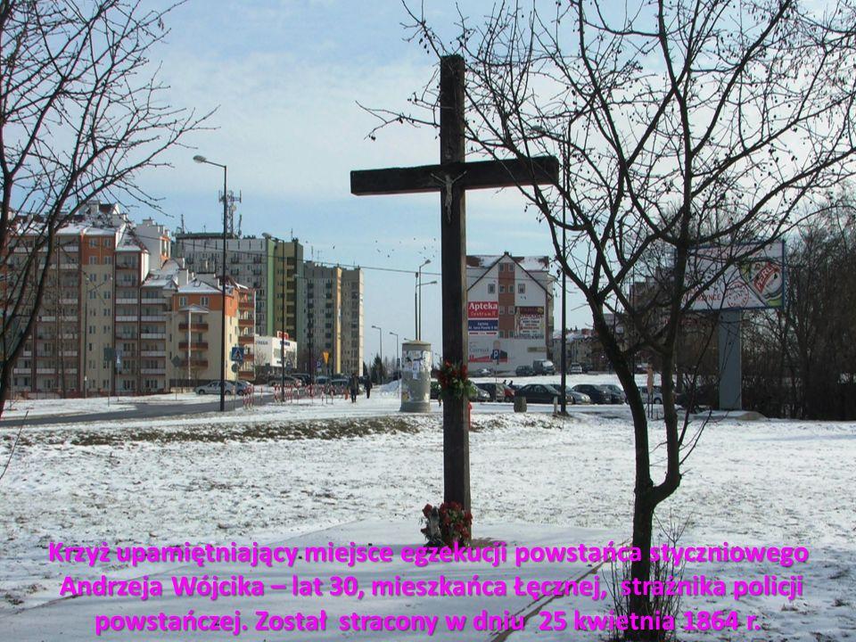 Krzyż upamiętniający miejsce egzekucji powstańca styczniowego Andrzeja Wójcika – lat 30, mieszkańca Łęcznej, strażnika policji powstańczej. Został str