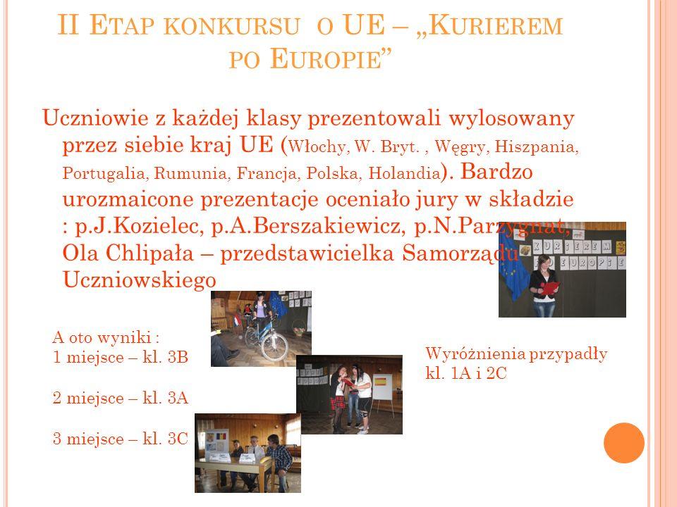 II E TAP KONKURSU O UE – K URIEREM PO E UROPIE Uczniowie z każdej klasy prezentowali wylosowany przez siebie kraj UE ( Włochy, W. Bryt., Węgry, Hiszpa