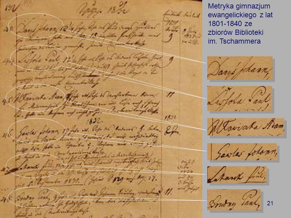 21 Metryka gimnazjum ewangelickiego z lat 1801-1840 ze zbiorów Biblioteki im. Tschammera