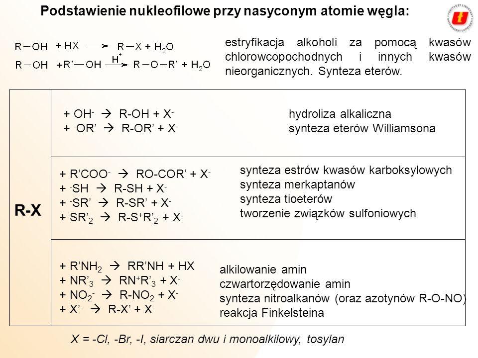 Podstawienie nukleofilowe przy nasyconym atomie węgla: R X + CN - R-CN + X - + - CΞCH R-CΞCH + X - synteza nitrylów Kolbego (oraz izonitrylów R-NC) synteza alkinów alkilowanie Fridela i Craftsa alkilowanie związków -dwukarbonylowych X = -Cl, -Br, -I, siarczan dwu i monoalkilowy, tosylan