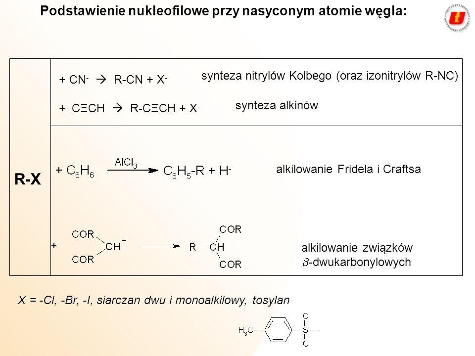 Podstawienie nukleofilowe przy nasyconym atomie węgla: R X + CN - R-CN + X - + - CΞCH R-CΞCH + X - synteza nitrylów Kolbego (oraz izonitrylów R-NC) sy