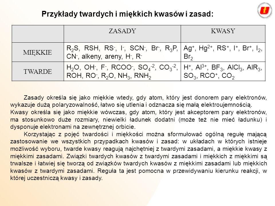 ZASADYKWASY MIĘKKIE R 2 S, RSH, RS -, I -, SCN -, Br -, R 3 P, CN -, alkeny, areny, H -, R - Ag +, Hg 2+, RS +, I +, Br +, I 2, Br 2 TWARDE H 2 O, OH