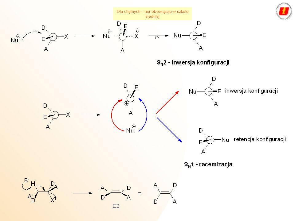 Wiązanie C-Me jonowekowalencyjne silnie spolaryzowane kowalencyjne R-Na alkilosód R-K alkilopotas R-Li alkilolit R-MgX halogenek alkilomagnezowy R 3 Al trialkiloglin R 4 Sn tetralkilocyna R 3 SnH wodorek trialkilocyny R 3 SnX halogenek trialkilocyny R 4 Pb tetralkiloołów RHgX halogenek alkilortęciowy R 2 Hg dialkilortęć Związki metaloorganiczne R-Me Dla chętnych – nie obowiązuje w szkole średniej