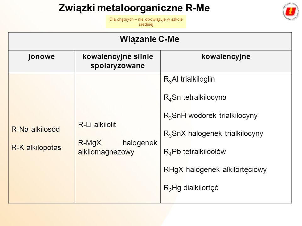 Metody syntezy związków metaloorganicznych: R-X + Na + K + Li + Mg + Zn + Hg R-Na + NaX R-K + KX R-Li + LiX R-Mg-X R-Zn-X R-Hg-X R= allil, benzyl, X=I,Br 3R 2 Hg + Al 2R 3 Al + 3Hg R 2 Hg + 2Me 2R-Me + Hg Me = K, Na, Li halogenek alkilu z metalem (wymiana chlorowca na metal) związek metaloorganiczny z metalem (wymiana metalu na inny metal) Dla chętnych – nie obowiązuje w szkole średniej