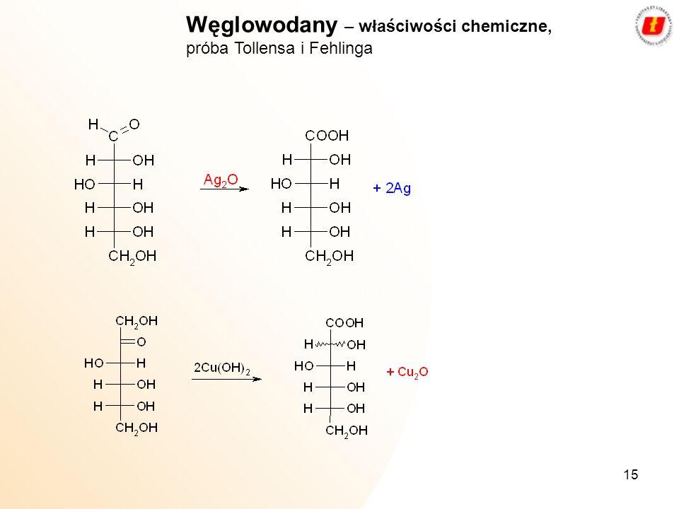 15 Węglowodany – właściwości chemiczne, próba Tollensa i Fehlinga