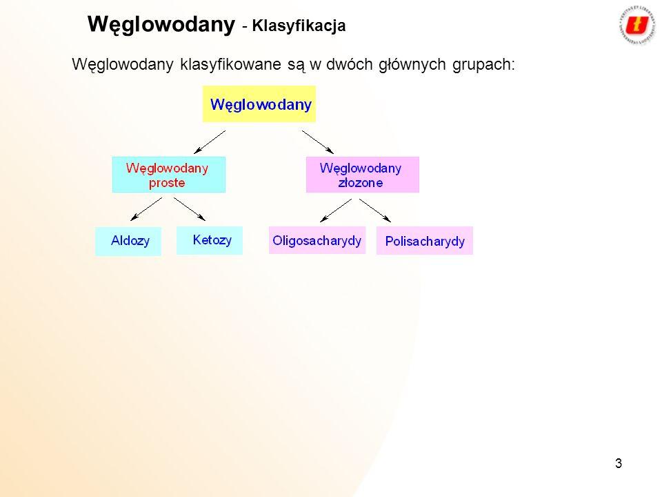 3 Węglowodany klasyfikowane są w dwóch głównych grupach: Węglowodany - Klasyfikacja