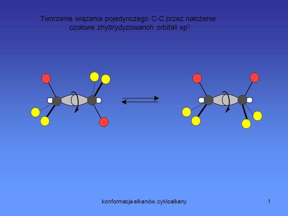 konformacje alkanów, cykloalkany1 Tworzenie wiązania pojedynczego C-C przez nałożenie czołowe zhybrydyzowanch orbitali sp 3