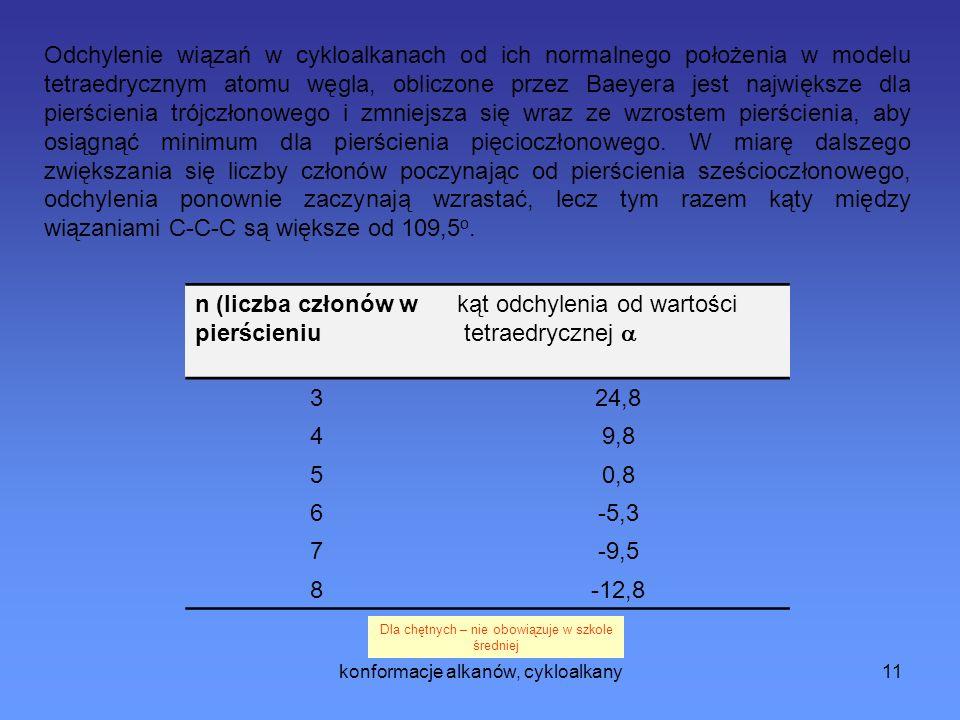 konformacje alkanów, cykloalkany11 n (liczba członów w pierścieniu kąt odchylenia od wartości tetraedrycznej 324,8 49,8 50,8 6-5,3 7-9,5 8-12,8 Odchylenie wiązań w cykloalkanach od ich normalnego położenia w modelu tetraedrycznym atomu węgla, obliczone przez Baeyera jest największe dla pierścienia trójczłonowego i zmniejsza się wraz ze wzrostem pierścienia, aby osiągnąć minimum dla pierścienia pięcioczłonowego.