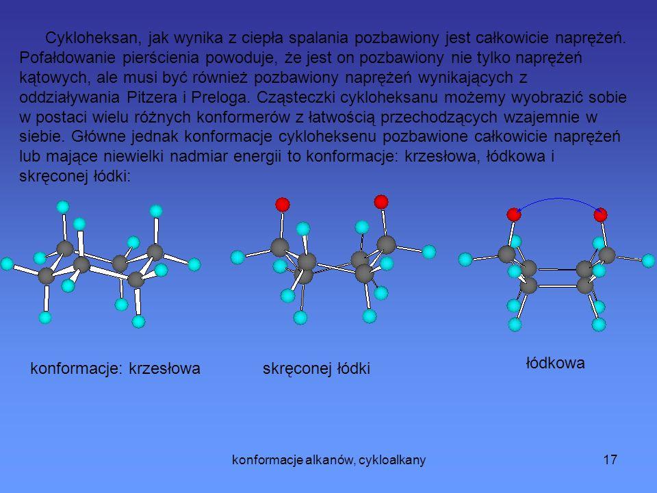 konformacje alkanów, cykloalkany17 Cykloheksan, jak wynika z ciepła spalania pozbawiony jest całkowicie naprężeń.