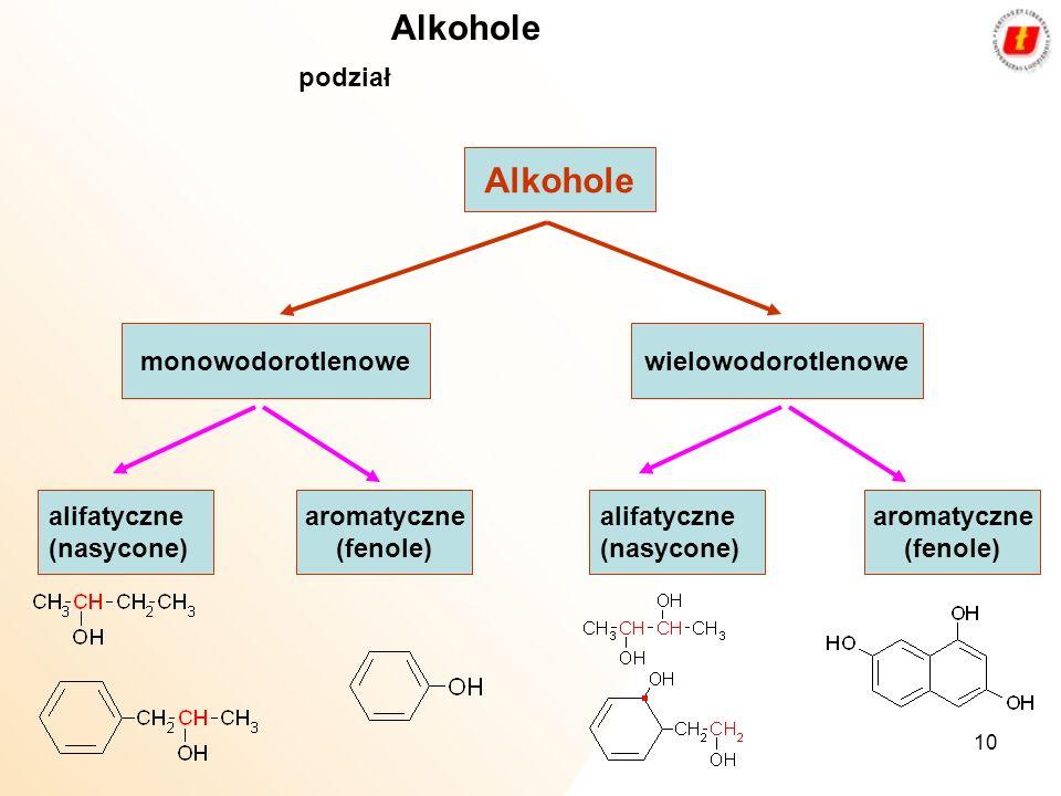 10 Alkohole podział Alkohole monowodorotlenowewielowodorotlenowe alifatyczne (nasycone) alifatyczne (nasycone) aromatyczne (fenole) aromatyczne (fenol
