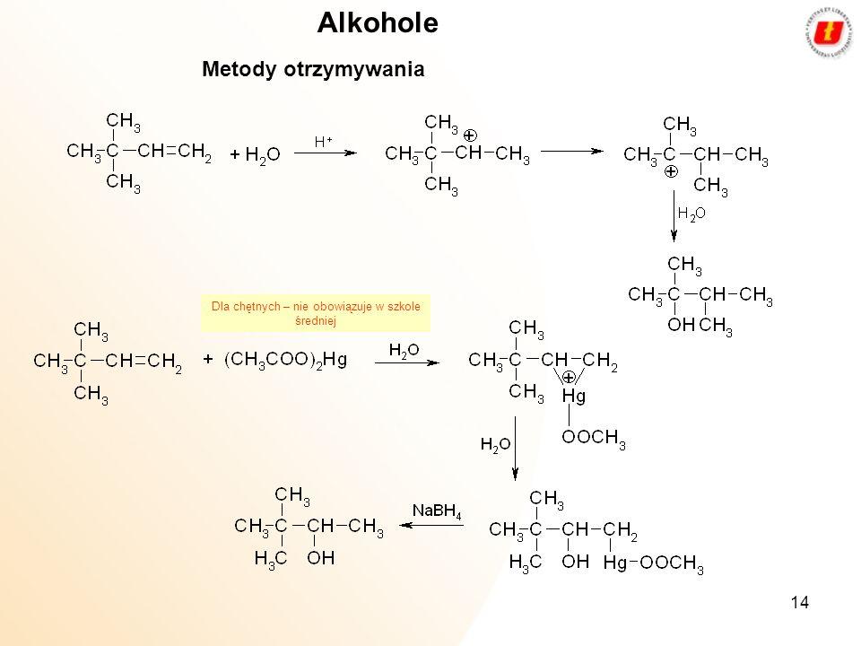 14 Alkohole Metody otrzymywania Dla chętnych – nie obowiązuje w szkole średniej