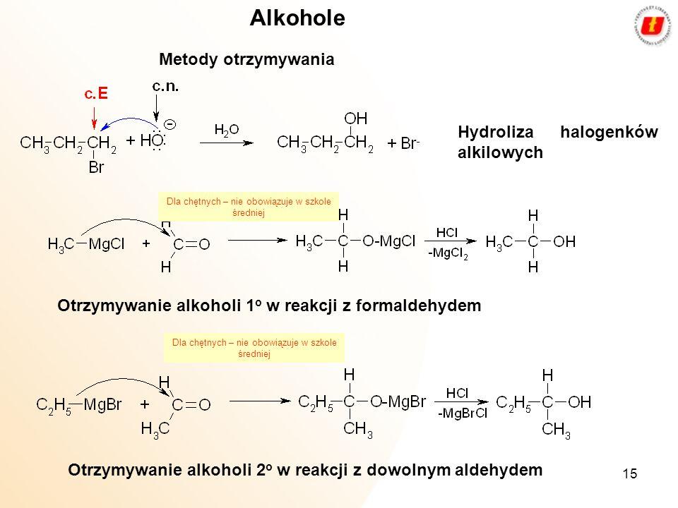 15 Alkohole Metody otrzymywania Hydroliza halogenków alkilowych Otrzymywanie alkoholi 1 o w reakcji z formaldehydem Otrzymywanie alkoholi 2 o w reakcj