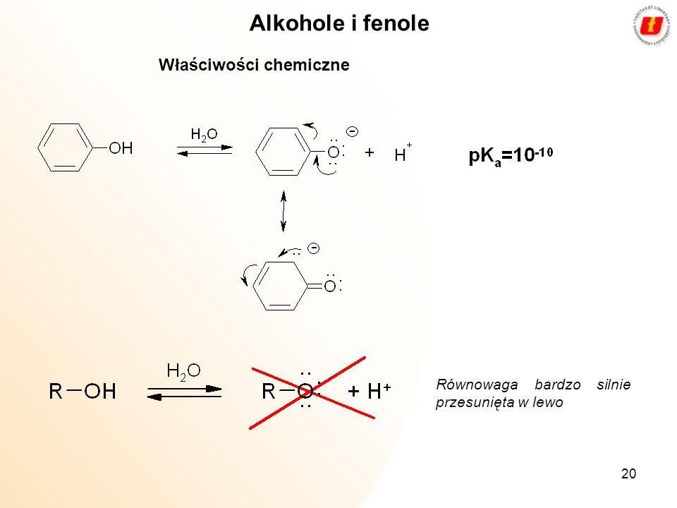 20 Alkohole i fenole Właściwości chemiczne Równowaga bardzo silnie przesunięta w lewo