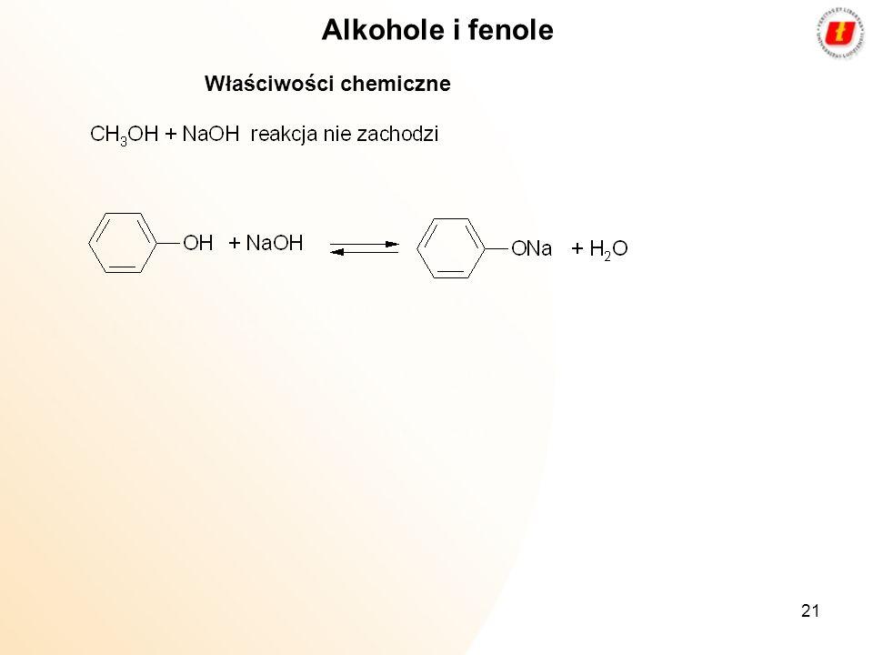 21 Alkohole i fenole Właściwości chemiczne