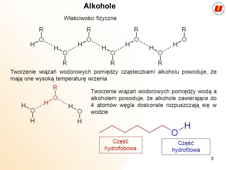 3 Alkohole Właściwości fizyczne Tworzenie wiązań wodorowych pomiędzy cząsteczkami alkoholu powoduje, że mają one wysoką temperaturę wrzenia Tworzenie