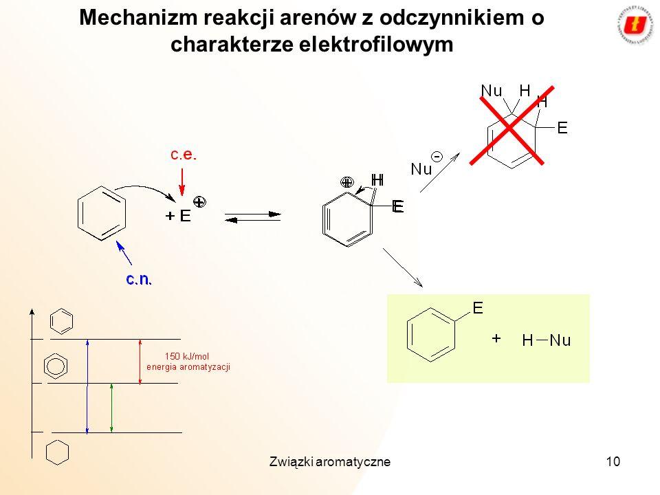 Związki aromatyczne10 Mechanizm reakcji arenów z odczynnikiem o charakterze elektrofilowym
