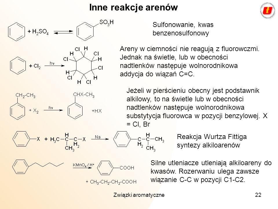 Związki aromatyczne22 Inne reakcje arenów Sulfonowanie, kwas benzenosulfonowy Jeżeli w pierścieniu obecny jest podstawnik alkilowy, to na świetle lub