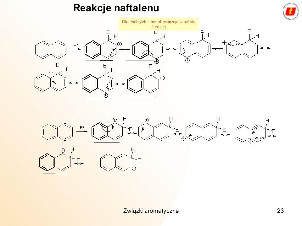 Związki aromatyczne23 Reakcje naftalenu Dla chętnych – nie obowiązuje w szkole średniej