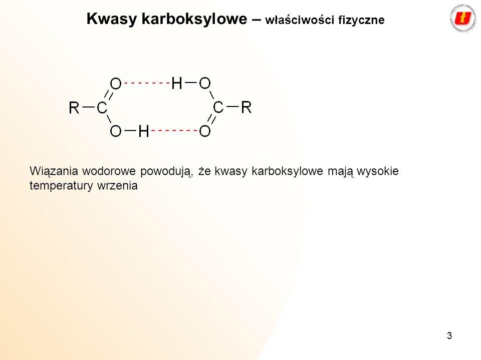 3 Kwasy karboksylowe – właściwości fizyczne Wiązania wodorowe powodują, że kwasy karboksylowe mają wysokie temperatury wrzenia