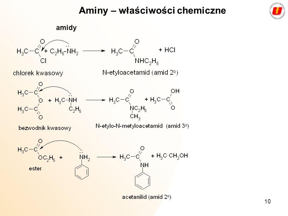 10 Aminy – właściwości chemiczne amidy