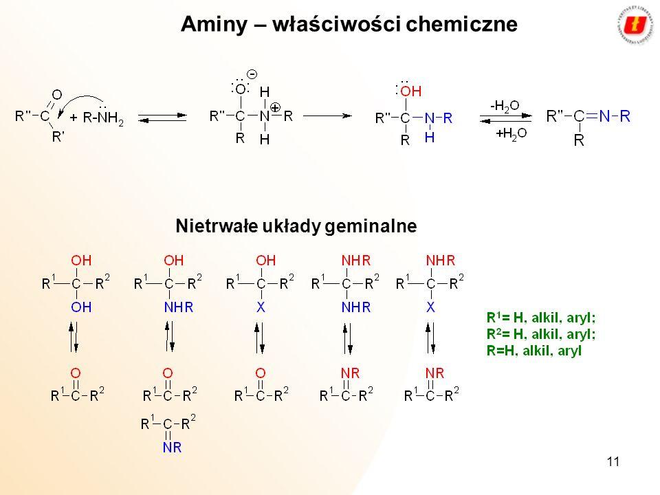 11 Aminy – właściwości chemiczne Nietrwałe układy geminalne
