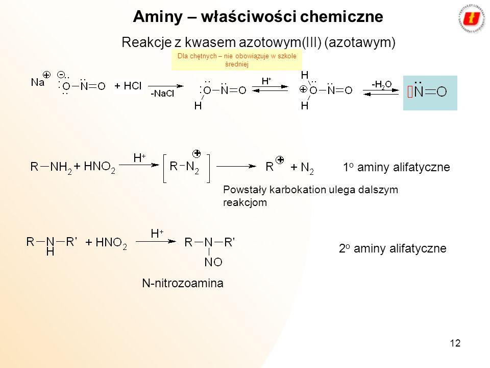 12 Aminy – właściwości chemiczne Reakcje z kwasem azotowym(III) (azotawym) 1 o aminy alifatyczne 2 o aminy alifatyczne Powstały karbokation ulega dals