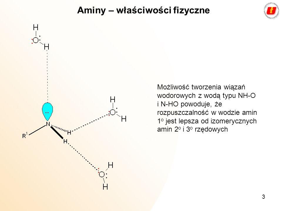 3 Aminy – właściwości fizyczne Możliwość tworzenia wiązań wodorowych z wodą typu NH-O i N-HO powoduje, że rozpuszczalność w wodzie amin 1 o jest lepsz