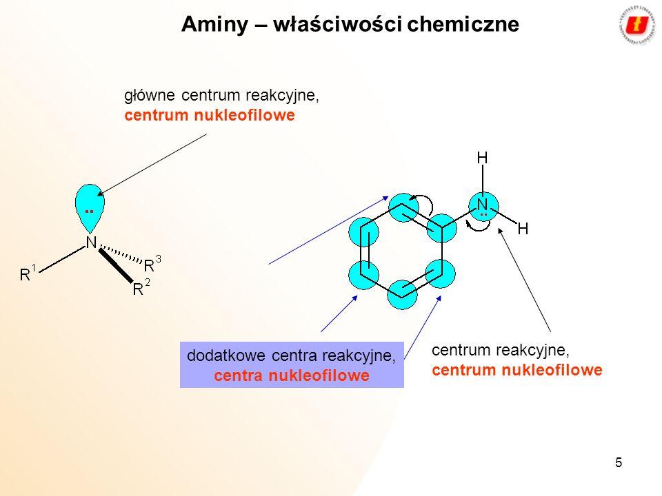 5 Aminy – właściwości chemiczne główne centrum reakcyjne, centrum nukleofilowe centrum reakcyjne, centrum nukleofilowe dodatkowe centra reakcyjne, cen