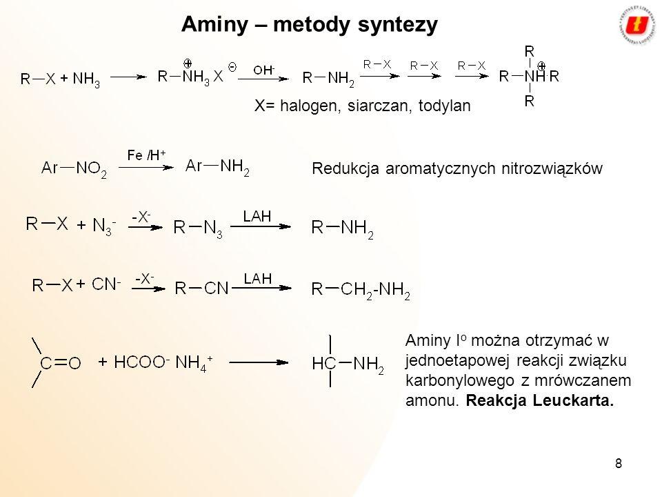 8 Aminy – metody syntezy X= halogen, siarczan, todylan Redukcja aromatycznych nitrozwiązków Aminy I o można otrzymać w jednoetapowej reakcji związku k