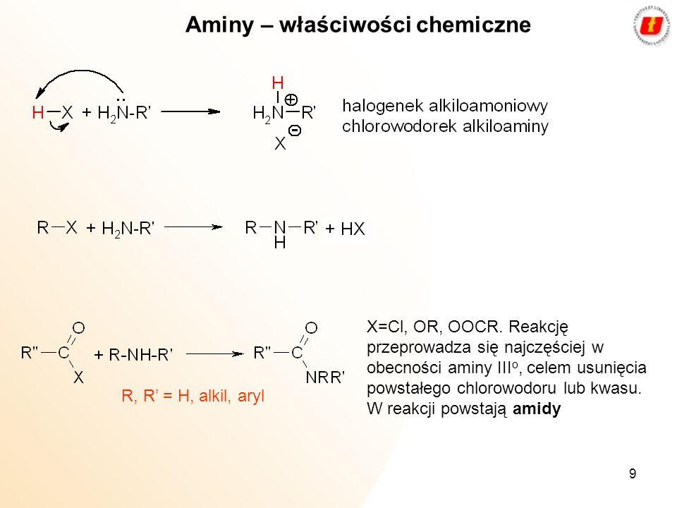 9 Aminy – właściwości chemiczne X=Cl, OR, OOCR. Reakcję przeprowadza się najczęściej w obecności aminy III o, celem usunięcia powstałego chlorowodoru