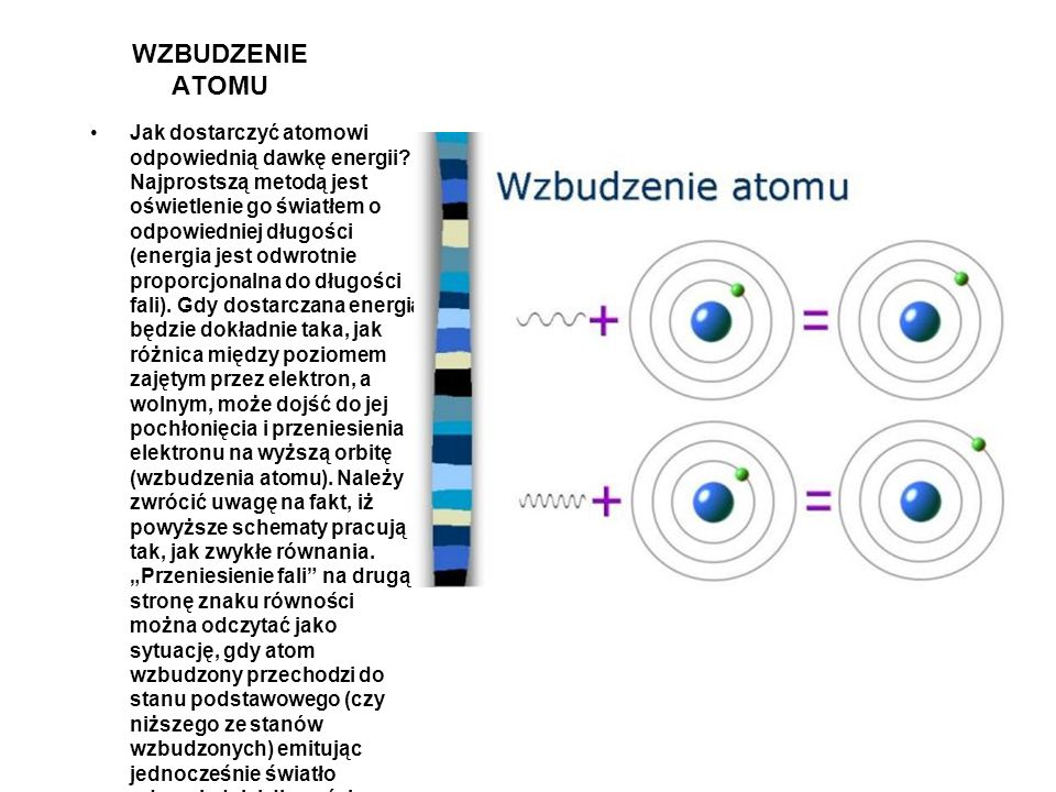 POZIOMY ENERGETYCZNE Ponieważ mowa jest o atomach tworzących gaz, warto jest przyjrzeć się budowie tych obiektów. W najprostszym modelu atom składa si