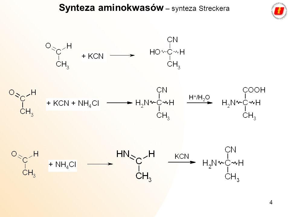 4 Synteza aminokwasów – synteza Streckera