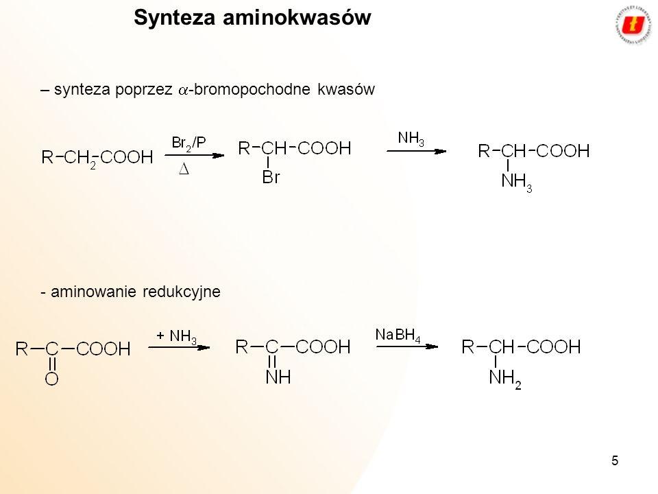 5 Synteza aminokwasów – synteza poprzez -bromopochodne kwasów - aminowanie redukcyjne