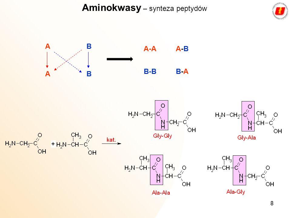 8 Aminokwasy – synteza peptydów AB AB A-A B-B A-BA-B B-AB-A