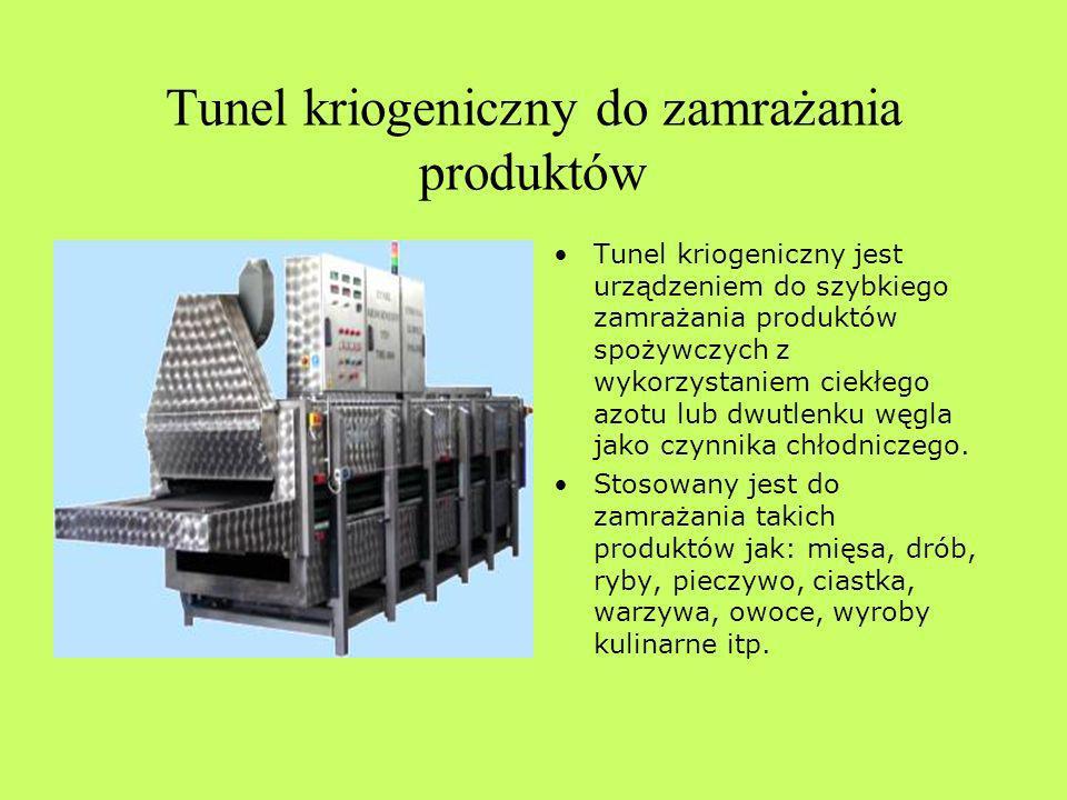 Tunel kriogeniczny do zamrażania produktów Tunel kriogeniczny jest urządzeniem do szybkiego zamrażania produktów spożywczych z wykorzystaniem ciekłego azotu lub dwutlenku węgla jako czynnika chłodniczego.