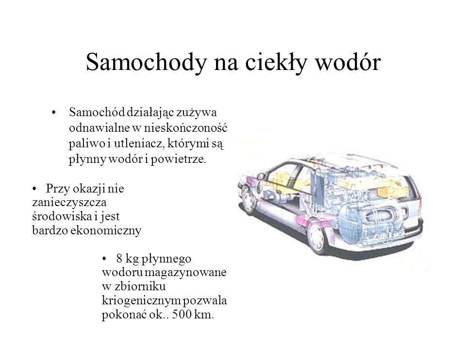 Samochody na ciekły wodór Samochód działając zużywa odnawialne w nieskończoność paliwo i utleniacz, którymi są płynny wodór i powietrze.