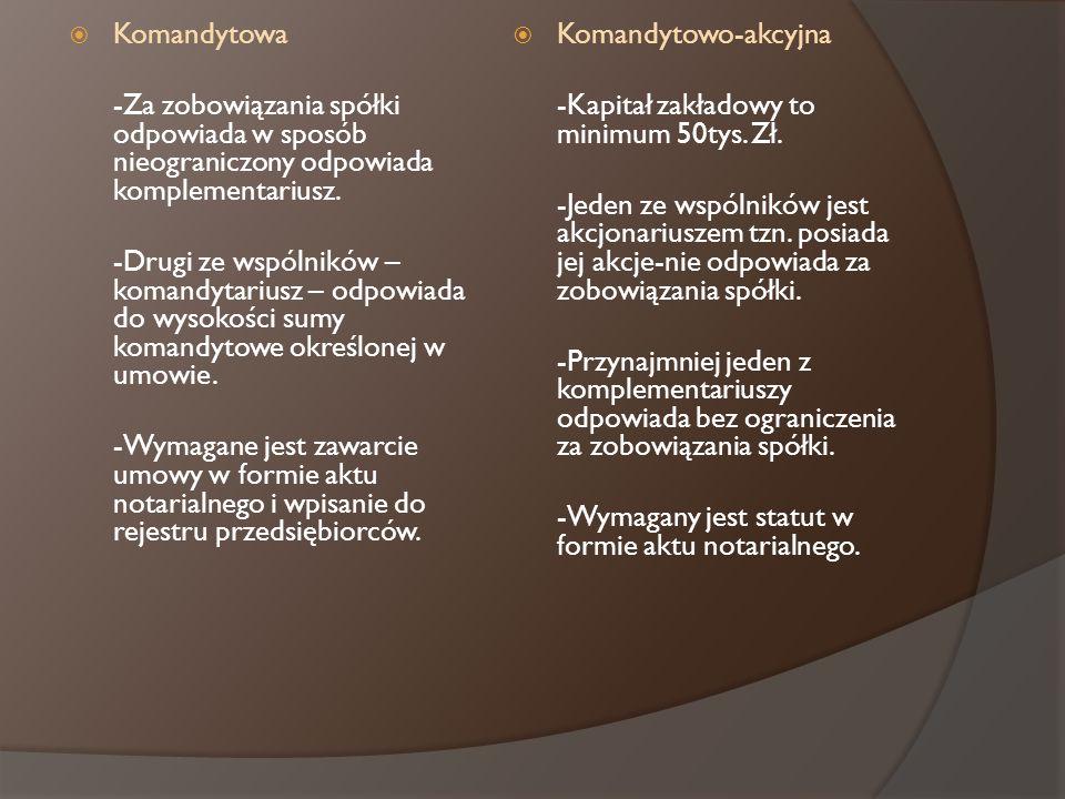 Komandytowa -Za zobowiązania spółki odpowiada w sposób nieograniczony odpowiada komplementariusz. -Drugi ze wspólników – komandytariusz – odpowiada do