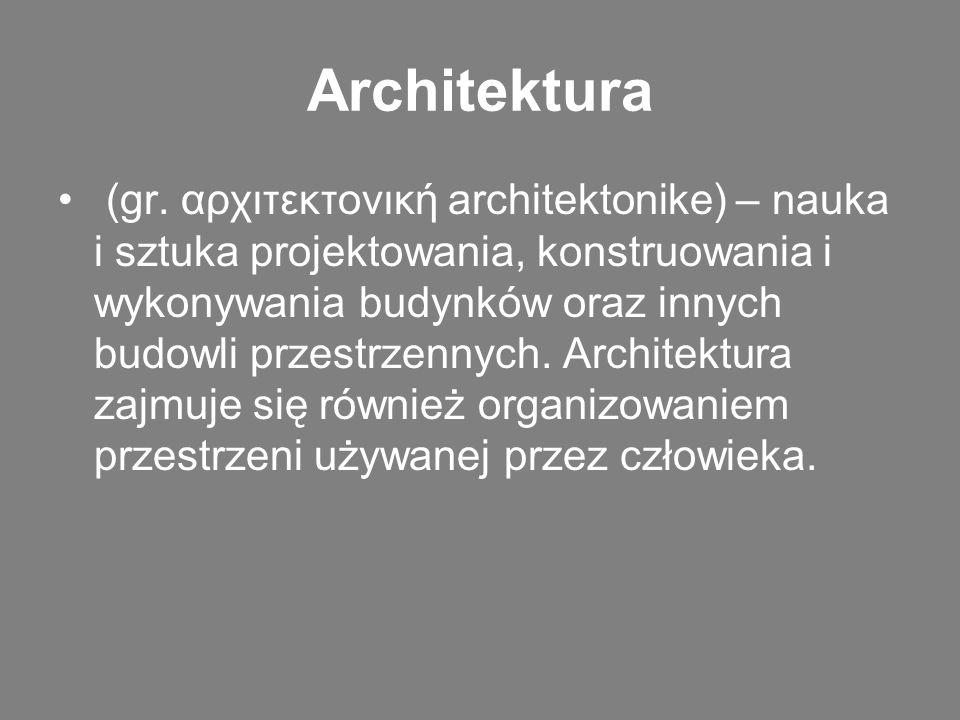 Architektura (gr. αρχιτεκτονική architektonike) – nauka i sztuka projektowania, konstruowania i wykonywania budynków oraz innych budowli przestrzennyc