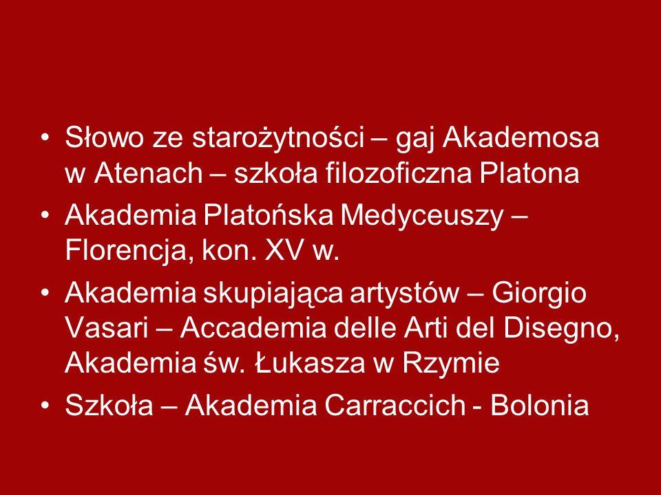 Słowo ze starożytności – gaj Akademosa w Atenach – szkoła filozoficzna Platona Akademia Platońska Medyceuszy – Florencja, kon. XV w. Akademia skupiają