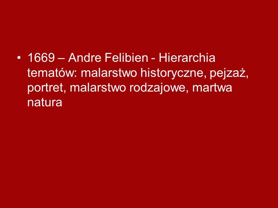 1669 – Andre Felibien - Hierarchia tematów: malarstwo historyczne, pejzaż, portret, malarstwo rodzajowe, martwa natura