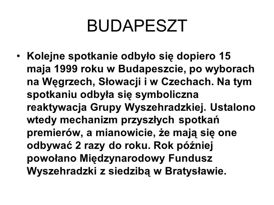 BUDAPESZT Kolejne spotkanie odbyło się dopiero 15 maja 1999 roku w Budapeszcie, po wyborach na Węgrzech, Słowacji i w Czechach. Na tym spotkaniu odbył