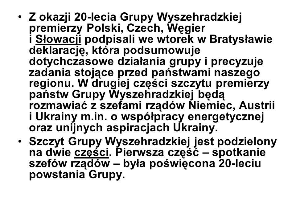 Z okazji 20-lecia Grupy Wyszehradzkiej premierzy Polski, Czech, Węgier i Słowacji podpisali we wtorek w Bratysławie deklarację, która podsumowuje doty