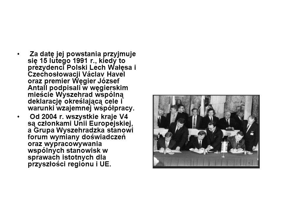 Za datę jej powstania przyjmuje się 15 lutego 1991 r., kiedy to prezydenci Polski Lech Wałęsa i Czechosłowacji Václav Havel oraz premier Węgier József
