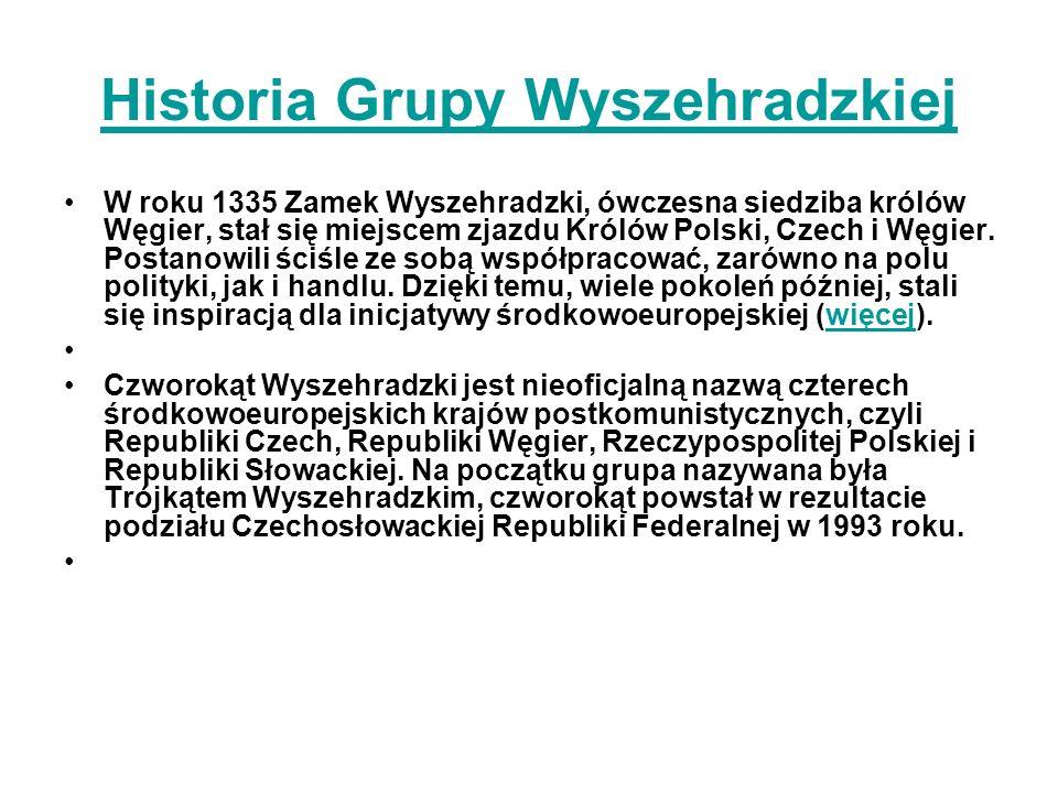 Historia Grupy Wyszehradzkiej W roku 1335 Zamek Wyszehradzki, ówczesna siedziba królów Węgier, stał się miejscem zjazdu Królów Polski, Czech i Węgier.